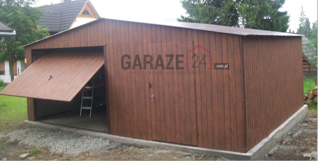 Plechová garáž 6×6 m – sedlová strecha – tmavý orech