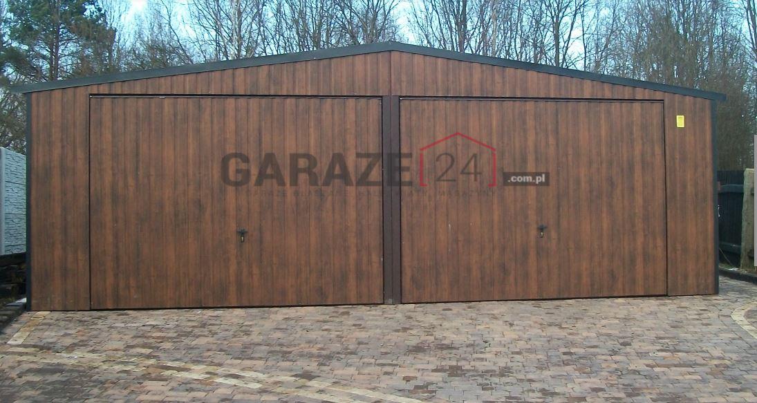 Plechová garáž 7×5 m – tmavý orech, dve výklopné brány