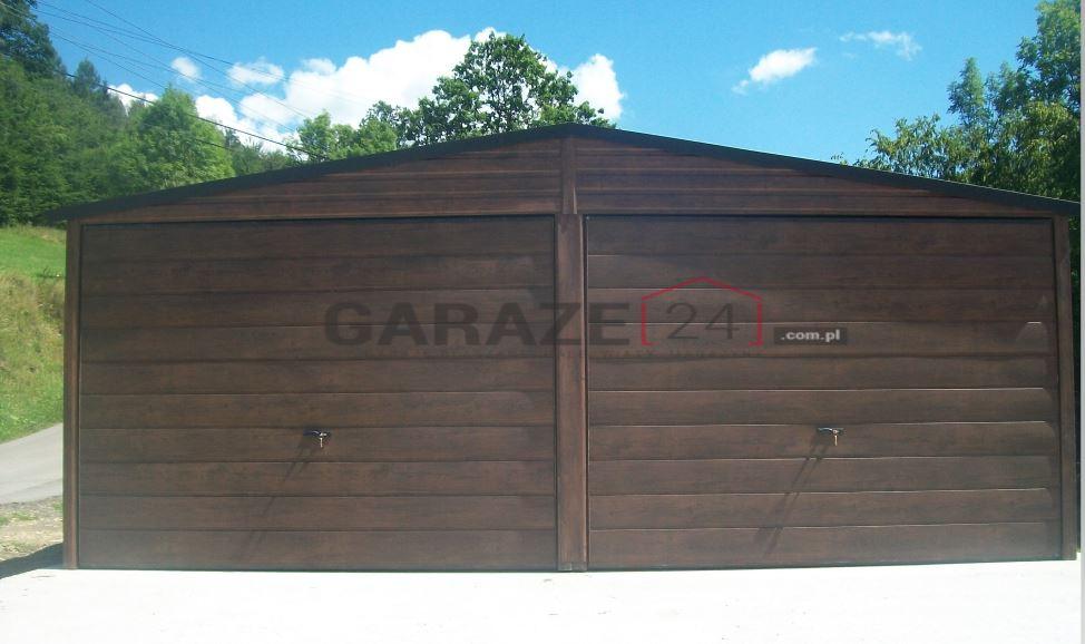 Plechová garáž 6×5,5 m – sedlová strecha – tmavý orech