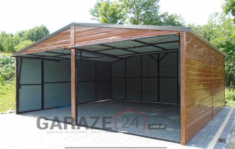 Plechová garáž 6×5 metrov – sedlová – zlatý dub