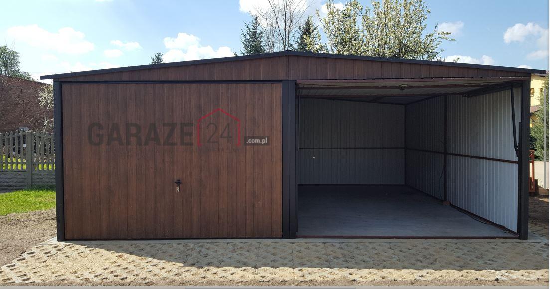 Plechová garáž 6×5,5 m, sedlová strecha, tmavý orech