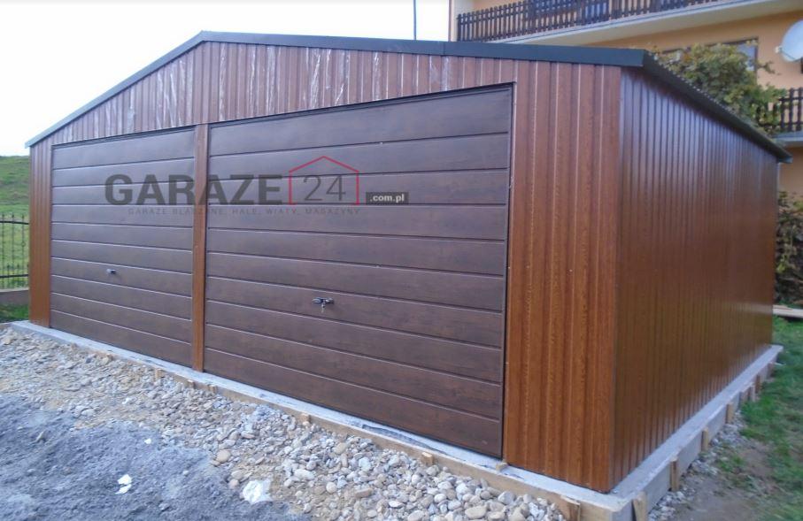 Plechová garáž 7×5 m – zlatý dub