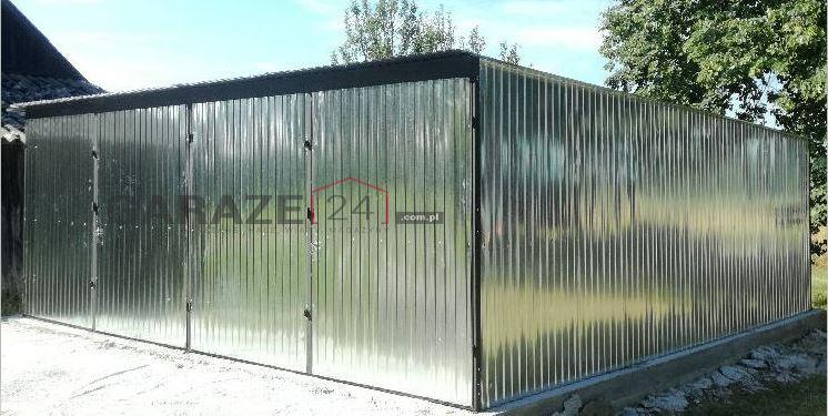 Plechová garáž 6×5 m, pultová strecha so spádom do zadu, pozinkovaný plech, dvojgaráž