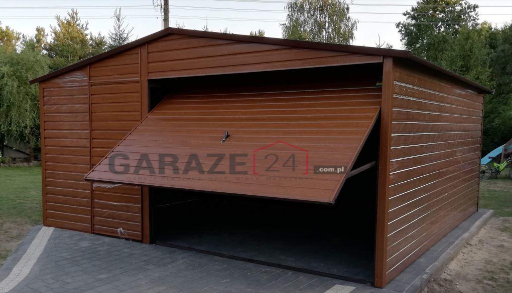 Plechová garáž 5×5 m + výklopná brána, sedlová strecha