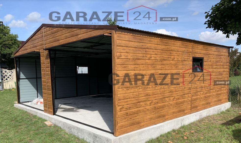 Plechová garáž 6,5×6 m, sedlová strecha, farba Premium