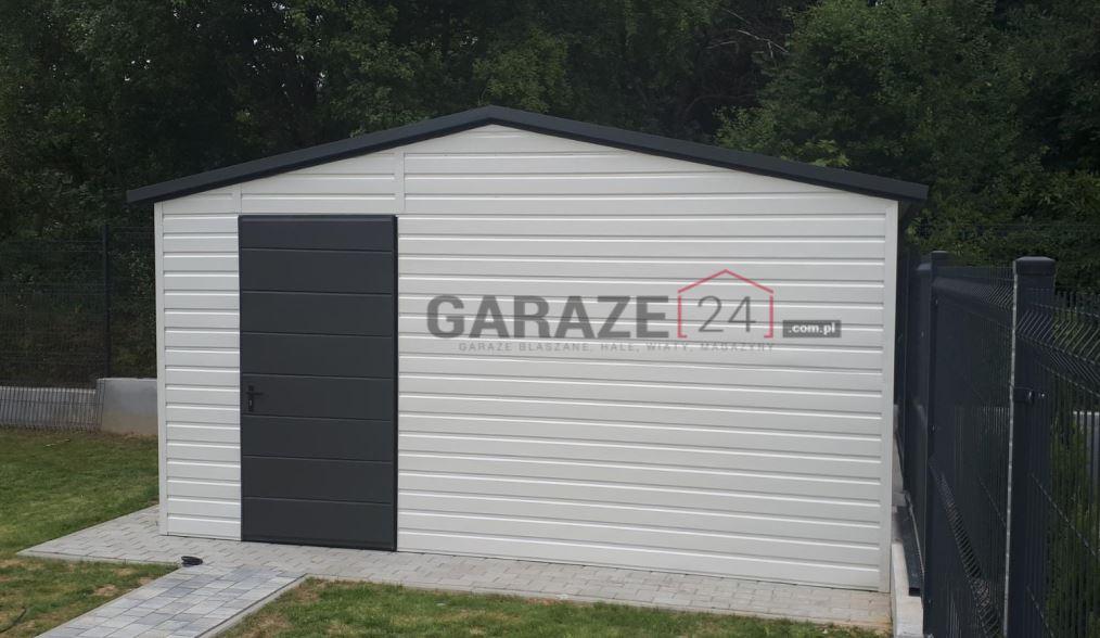 Plechová garáž 4×4 m, sedlová strecha, biela