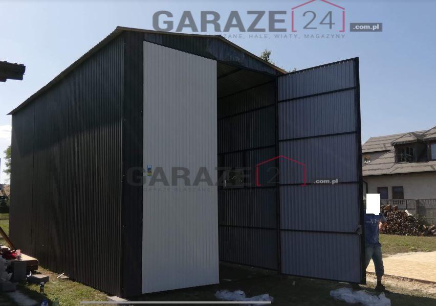 Plechová garáž 5×8 m, tmavosivá, sedlová strecha